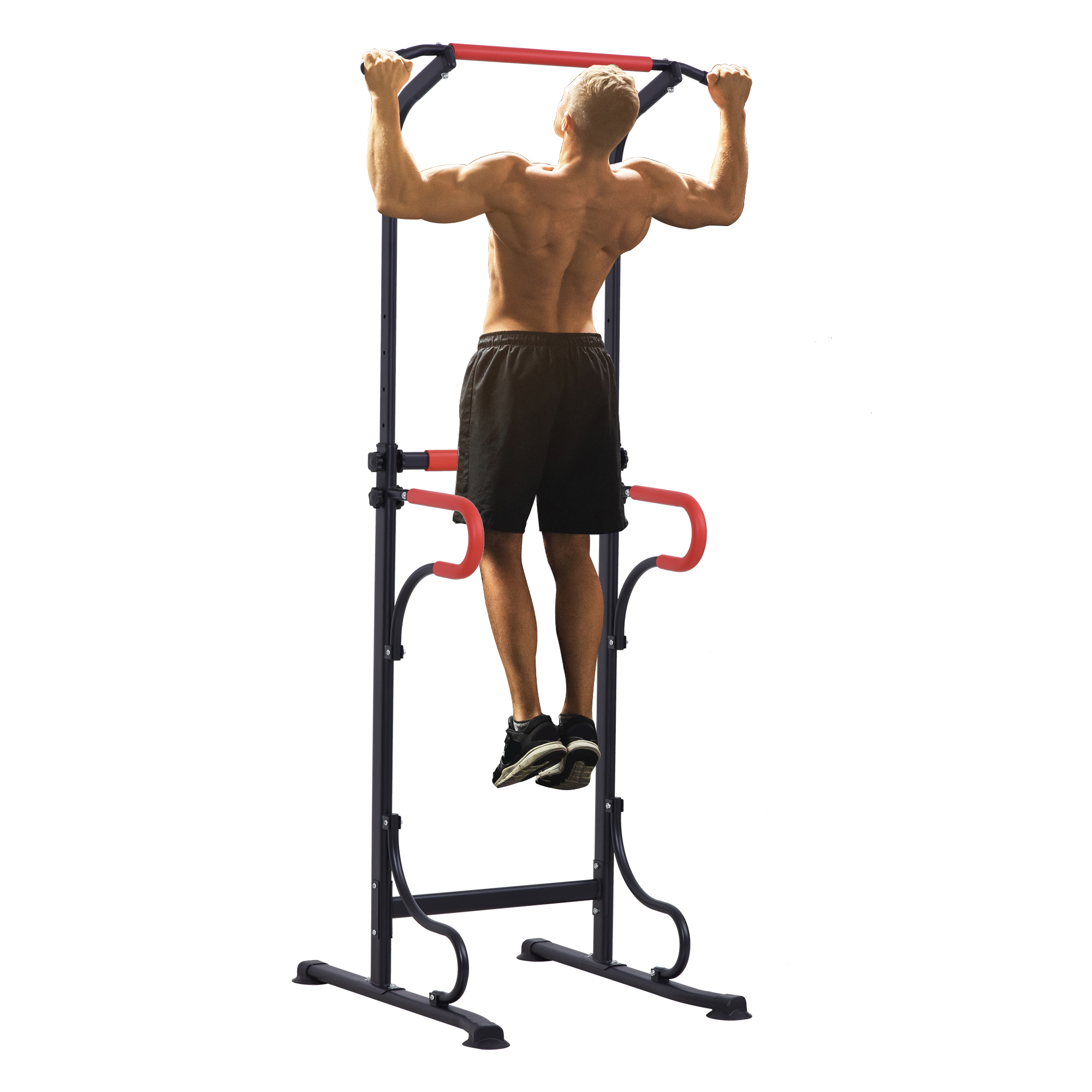 Station de musculation multifonctions hauteur réglable acier noir rouge