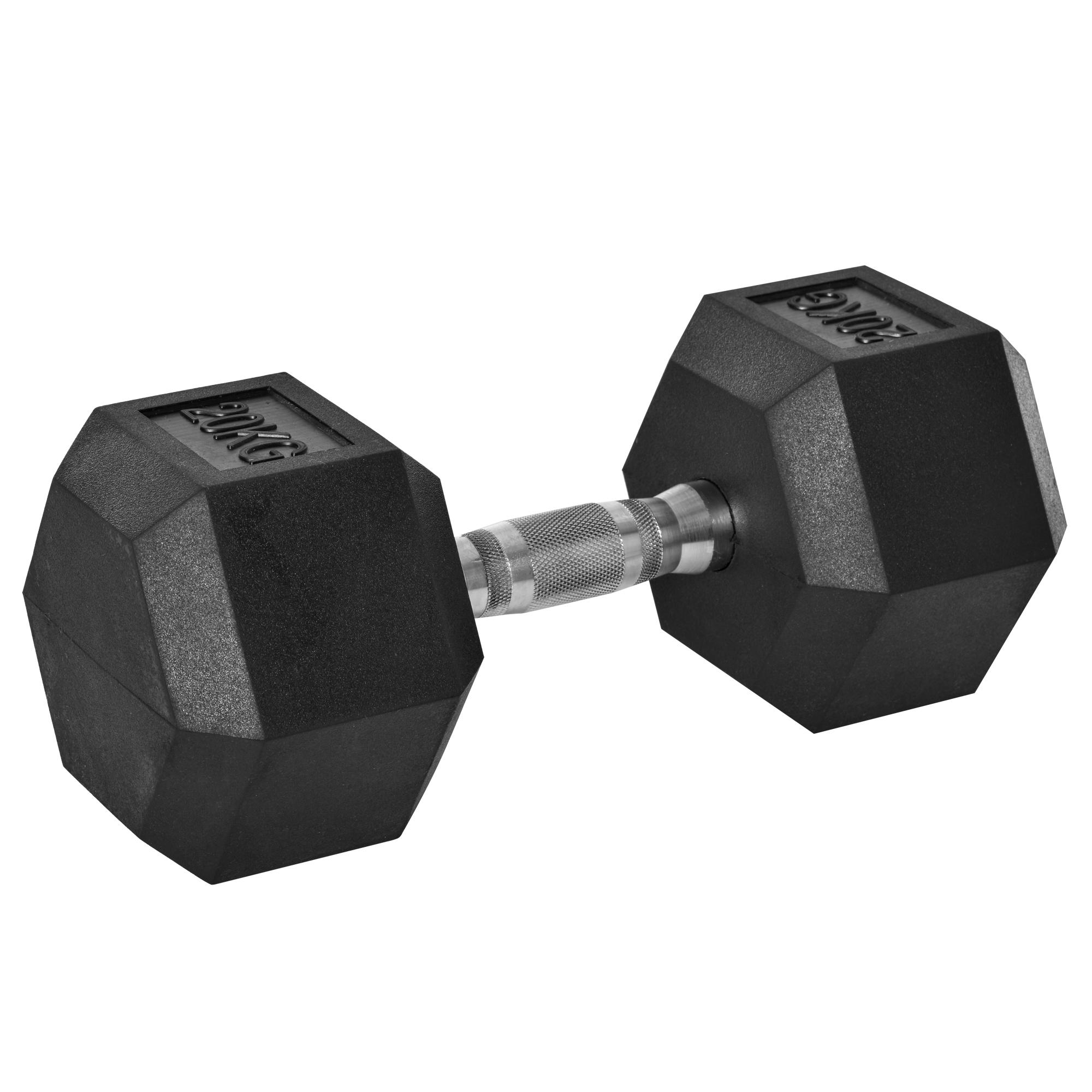Haltère courte poids 20 Kg - acier caoutchouc noir